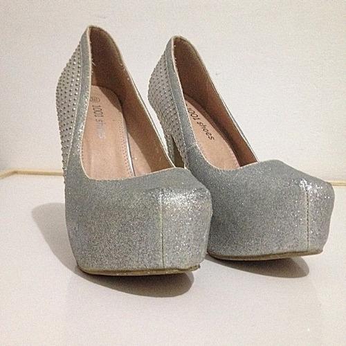 7b5dc0ad3 Sapato Feminino Salto Alto Semi Novo Importado Luxo Brilho
