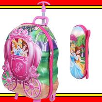 Kit Mala 3d Mochila Estojo Princesas Carrossel Dermiwil