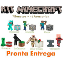 Kit 7 Bonecos Minecraft Steve Diamond Creeper Ederman Iron