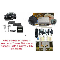 Kit Vidro Elétrico + Trava + Alarme Celta 4 Portas