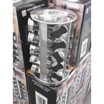 Porta Temperos C/ Base Giratória Em Inox 20 Potes