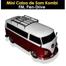 Mini Caixa Som Portatil Kombi Usb Fm Sd Controle Remoto