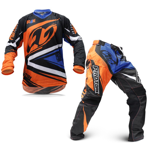 Kit Calça Camisa Motocross Protork Insane 4 Azul Laranja G