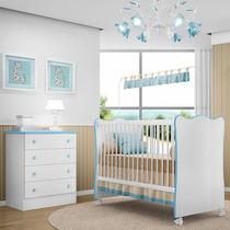 Berço Doce Sonho Branco Azul Com Cômoda - Qmovi