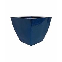 Vaso / Cachepot Em Fibra Estilo Cerâmica Vietnamita Azul