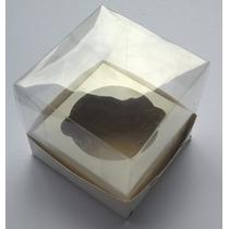 100 Caixas Mini Bolo Cupcake 10x10x10 Acetato Transparente