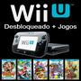 Nintendo Wii U 32gb Desbloqueado + 20 Jogos Wiiu + Sd 64gb