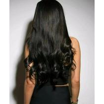 Aplique Tictac Alongamento Cabelo Mega Hair Preto Ondulado