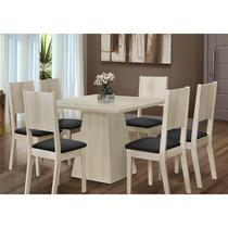 Conjunto Sala De Jantar Mesa Orquídea E 6 Cadeiras Acácia