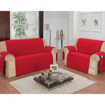 Protetor De Sofá Santos 2 E 3 Lugares Microfibra Vermelho