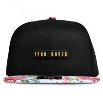 Boné John Roger Roses Aba Reta Snapback Preto