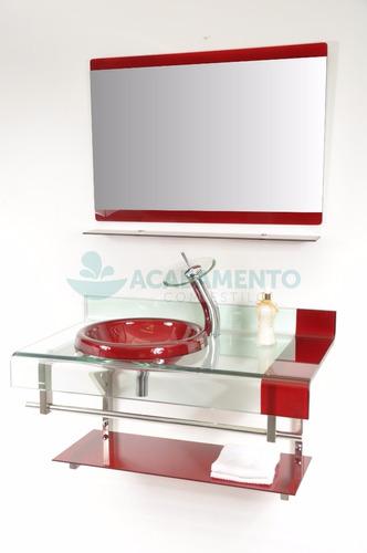 Gabinete De Vidro Banheiro 90 Cm Vermelho Vinho à venda em Custódio Pereira U -> Armario De Banheiro Em Minas Gerais