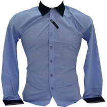 Camisa Slim Fit Luxo Social Gola Bicolor