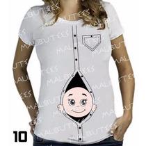 Blusa T-shirt Bebe Espiando Gestante Gravida Atacado 10 Unid