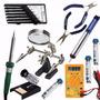 Kit Ferramentas Para Eletr�nica Solda Lupa Mult�metro 16 P�s