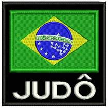 Bordado Termocolante - Bandeira Brasil Judô Fp 8x7,5cm