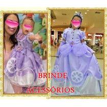 Vestido Princesa Sofia Com Brindes