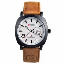 Relógio Curren 8139 Masculino Branco Pulseira De Couro
