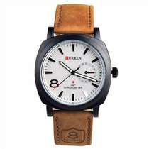 Relógio Curren 8139 Masculino Branco Couro Pronta Entrega