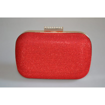 Carteira Bolsa Clutch Feminina Festa Strass Gliter Vermelha