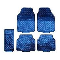 Jogo De Tapetes Automotivos Carro Cromados Azul 5 Peças