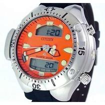 Relógio Citizen Aqualand Jp1060 Fundo Laranja Em 12x S/juros