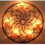 Mandala 12 Pontas Flor Decoração Parede Porta Vela Ferro