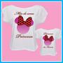 Kit Blusa Tal Mãe Tal Filha Princesa Minnie Laço, Camiseta