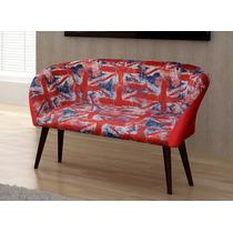 Cadeira Potrona Decorativa Namoradeira Pés Palito 2 Lugares
