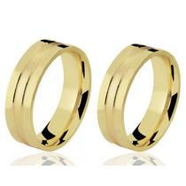 Par Alianças De Casamento Reta Com Frisos Ouro 18k 6mm 20grs