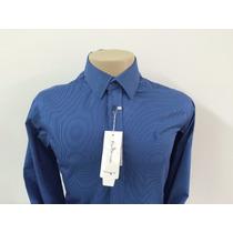Camisa Social Masculina Polo, Cor Azul