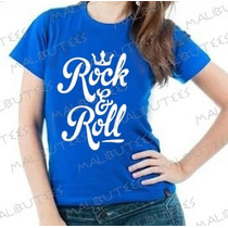 Baby Look Camiseta Rock E Roll Personalizado Blusa Feminina