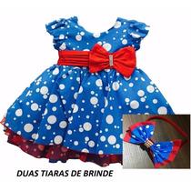 Vestido De Festa Infantil Azul Galinha Pintadinha E Tiara