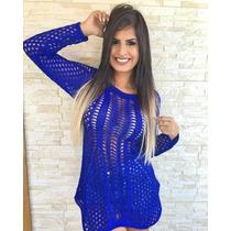 Vestido De Tricot Feminino Croche Bata Blusa Vestido