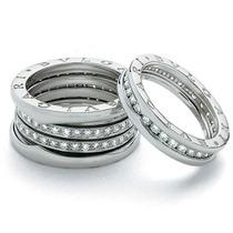 Aliança Anel Bvlgari B-zero Com Diamantes 2pts Ouro 18k 750