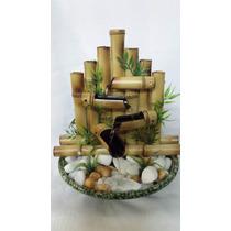 Fonte Água Bambu Cascata Feng Shui Cerâmica Pedras 4 Quedas