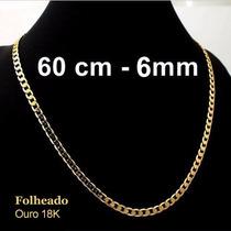 Corrente Folheada A Ouro 18k Groumet De 60cm Com 27,00gr