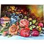 Quadro Flores Com Jarra Azul Arte Francesa