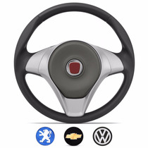 Volante Palio Attractive Prata C Emblemas Fiat Gm Vw Peugeot