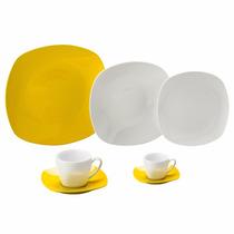 Jogo De Jantar Porcelana Quadrado Amarelo 42pcs Lyor 8004