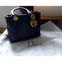 Bolsa Lady Dior Em Couro Preto De Carneiro