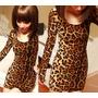 Vestido Casual Curto Onça Oncinha Tigresa Com Mangas Longas