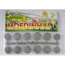 Kit 10x 12 Mini Moedas Cinza Prata Moedinhas Brinquedo + Nf