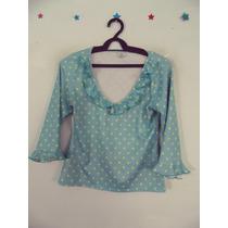 Blusa Feminina Azul Bolinhas Cód. 93 A 95