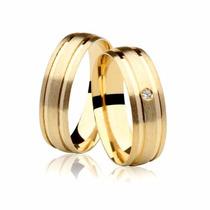 Aliança Em Ouro 18k - Com Brilhante E Frete Grátis Casamento
