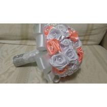 Buquê. Bouquet De Noiva Artificial Branco C Perolas E Brochê