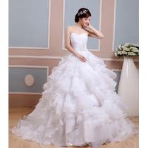 Vestido De Noiva Marfim Branco Robe De Moriee Organza Frisad
