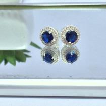 Promoção Brinco Prata Maciça 925 Com Pedra Azul