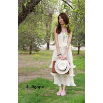 Belo Vestido Plissado Creme. Importado!!!