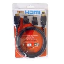 Cabo Hdmi 1.5 Metros Preto+2 Adaptadores 1 Micro+1 Mini Hdmi